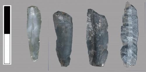 Micro-lamelles en cristal de roche du site de Promachonas (Grèce du Nord)