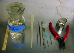 Fig. 7 : acide chlorhydrique, plaquette de verre, pipette, pincette, scalpel, aiguilles, pince, loupe.