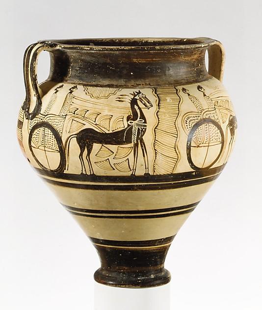 Fig. 4 : « cratère à char » de Chypre, 14e s. av. J.-C., collection Cesnola, Metropolitan Museum