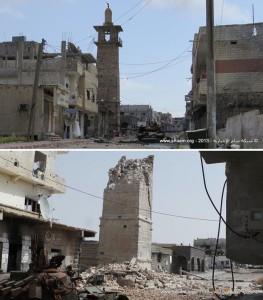 Destruction du minaret de la mosquée el Omari à Deraa.