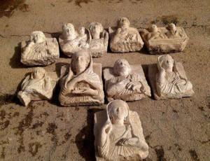 Bustes de Palmyre interceptés par la Direction Générale des Antiquités et des Musées de Syrie.