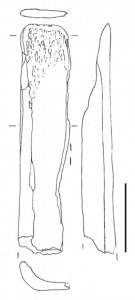 Fig. 10. Outil tranchant sur esquille de tibia d'équidé (niveau 4). Échelle : 3 cm.