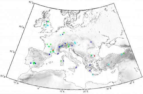Fig. 2 : Carte de l'Europe présentant les sources possibles d'approvisionnement en minerais de Pb pour la fabrication des fistules d'après la requête effectuée dans notre base de données des isotopes du Pb (n ~ 6000 échantillons). Le code couleur renvoie au degré de confiance accordé aux pixels identifiés pour lesquels la probabilité est la plus forte à mesure que les couleurs sont plus chaudes.