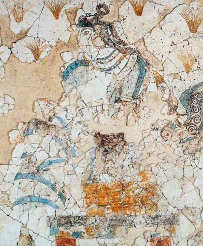 Fig. 9 : personnage féminin assis, mur nord de la Xestè 3 d'Akrotiri à Théra (d'après Doumas 1992, fig. 122).