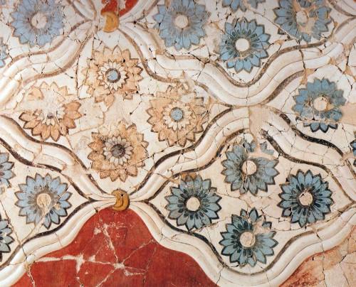 Fig. 10 : fresques à rosettes ornant le deuxième étage de la Xestè 3 d'Akrotiri (d'après Doumas 1992, fig. 137).
