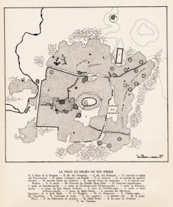 Fig. 5 : plan de la ville au milieu du XIXe siècle, avec les toponymes des quartiers hors les murs au nord et à l'est. D'après Sauvaget 1941.