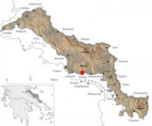 fig. 3 : situation d'Erétrie en Eubée centrale.