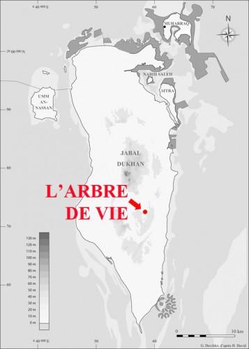 Figure 1. Carte de Bahreïn et localisation de l'Arbre de Vie. Les zones grisées représentent les terres récemment gagnées sur la mer.
