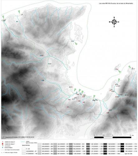 Fig. 1 : Les sites du Minoen Récent IIIA-B de la baie du Mirambello (F. Gaignerot-Driessen)