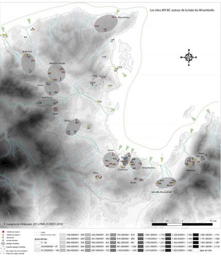 Fig. 2 : Les sites du Minoen Récent IIIC de la baie du Mirambello (F. Gaignerot-Driessen).
