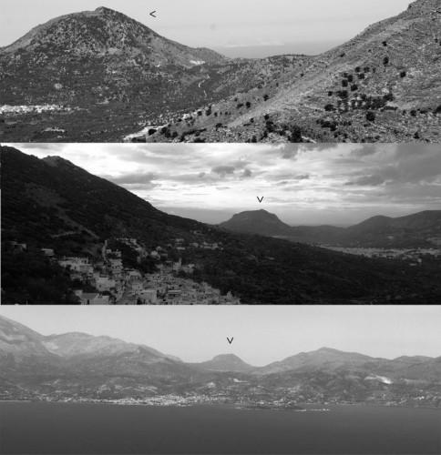 Fig. 6 : L'Anavlochos (fig. 2 n°5) vu (de haut en bas) depuis les sites de Dréros (fig. 2 n°11), Vryses Prophitis Ilias (fig. 2 n°24) et Kastro (fig. 2 n°111) (F. Gaignerot-Driessen).