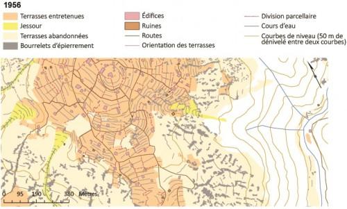 Fig. 2 - Organisation spatiale type des paysages en pierre sèche : l'exemple de Qlaaïat (Kesrouan).