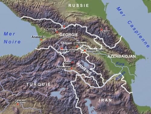 Fig. 1 : Carte du Caucase, avec les sites mentionnés dans le texte.