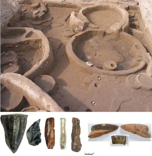 Fig. 3 : Aratashen : architecture en terre crue (bauge), industrie en obsidienne  et céramique Halaf importée (photo P. Lombard).