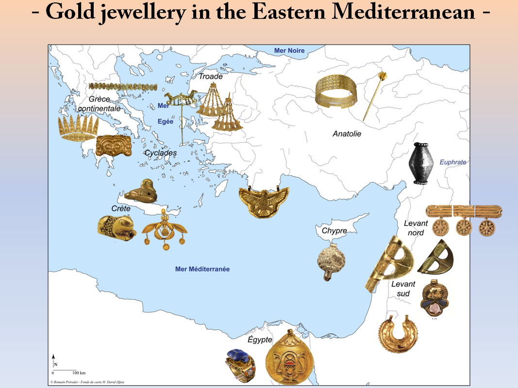 Fig. 3 : Gold jewellery distribution during the Bronze Age (©Prévalet&Morero)