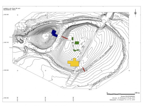 Fig. 4: plan topographique du site avec l'implantation des chantiers (Boris Hollemaert).