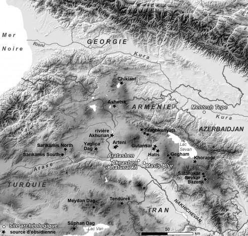 Fig.1 :  Carte de répartition des sources d'obsidienne dans le Caucase et le nord-est de la Turquie et localisation des sites étudiés.