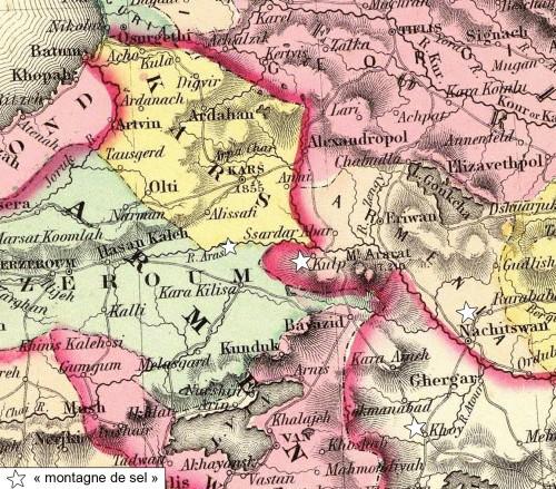 Fig. 5 : Carte du 19e siècle montrant la localisation de Kulpi (actuelle Tuzluca) et les « montagnes de sel » dans la vallée de l'Araxe.