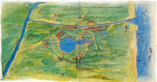 Fig. 2 : vue des ruines du Portus au 1582 réalisée par Ignazio Danti dans la Galerie des Cartes Géographiques du Museo Vaticano.