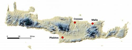Fig. 2 : les principaux palais crétois (fond de carte O. Barge).