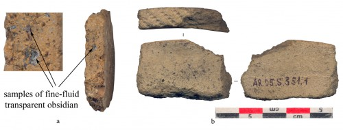 Fig. 6 : Obsidian tempered pottery from Aratashen (Photo by A. Harutyunyan).