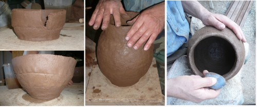 Fig. 9 : Slab-building, finishing and smoothing of the vessels