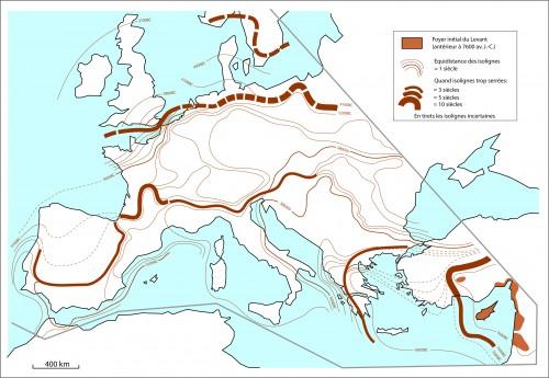 Figure 1 : Cartographie par isolignes de la diffusion du Néolithique en Europe (Rasse, 2014, )