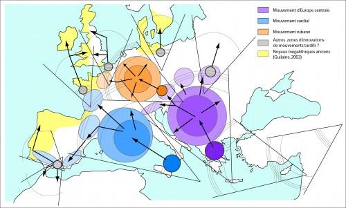 Figure 6 : Application du modèle à une cartographie de la diffusion du Néolithique (Rasse, 2014).