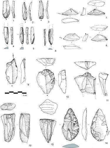 Fig. 5 : Matériel du site de Jebel Kareem. 1 à 3 : lamelles ; 4 à 6 : pièces à dos ; 7 et 8 : burins sur petits éclats triangulaires obtenus sur des nucleus à éclats ; 9 : burin sur troncature oblique convexe ; 10 et 11 : grattoirs ; 12 et 13 : nucléus à lamelles ; 14 : pointe partiellement unifaciale.