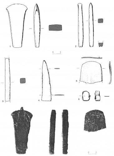 Fig. 6 : Qiryat Ata, 1 : tête de hache, 2-3 : ciseaux, 4-5 : lames, 6 : anneau (Golani 2003, fig. 7.7).