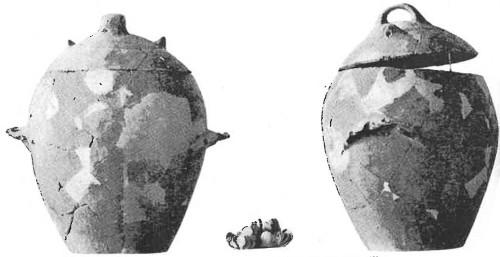 Fig. 7 : Tell el-Fâr'ah, deux vues de la jarre « coffre-fort » et des coquillages qu'elle contenait (Vaux 1961, pl. XLVI).