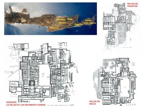 Fig. 2 : Villes avec Palais et plans des Palais de Knossos, Malia et Phaistos à la même échelle (fond de carte earthobservatory.nasa.gov/IOTD/view.php?id=51726).