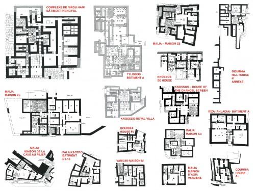 Fig. 3 : Sélection de plans de rez-de-chaussée de bâtiments néopalatiaux provenant de différents sites d'habitat urbains et ruraux (à la même échelle).
