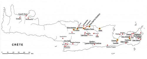 Fig. 1 : Répartition géographique des principaux sites d'habitat de la période néopalatiale en Crète (soulignés : sites dont les bâtiments ont été sélectionnés pour faire l'objet d'une étude extensive et [étoile] intensive).