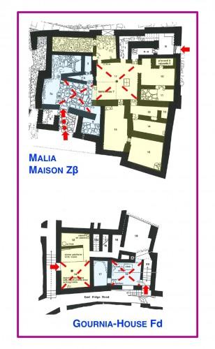 Fig. 10 : Malia, Maison Zβ (en haut) et Gournia, Maison Fd (en bas). Plans à deux entrées spécialisées correspondant à deux secteurs différents (indiqués en bleu et en jaune) dont l'organisation est fondée sur un espace central (lignes rouges interrompues) (© Vasso Fotou).