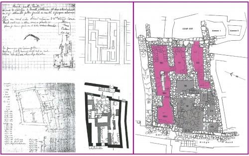 Fig. 4 : Gournia, Maison Ac. Documentation graphique extraite des archives de la fouille (HB/NB II, p. 6, 7; HB/DraftDB 1901, 1903, p. 119) et de la publication (Hawes et al. 1908, fig. 8 p. 22). À droite, relevé des vestiges, état 1985-1994, et leur répartition sur deux terrasses correspondant à deux étages successifs (© Vasso Fotou).