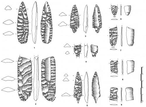 Fig. 1 : Matériel issu du flûtage à Manayzah, Yémen ; 1-2 : préformes ; 3-5 : pointes flûtées ; 6-9 : chutes de flûtage. D'après Crassard R. 2008.