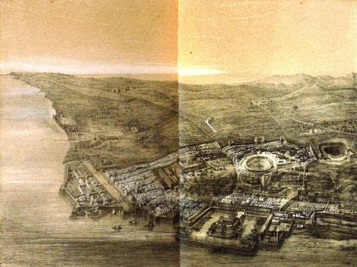Fig. 1: évocation du paysage et du port d'Utique en 46 BC selon Daux (1869).