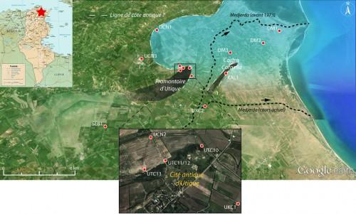 Fig. 3 : plan de localisation des points de carottage et évocation de la ligne de côte antique d'après les premiers résultats.
