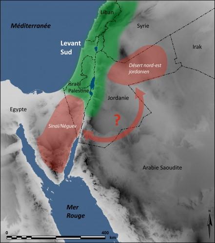 Fig.2 : Carte montrant les « enclaves » mieux connues de développement de l'occupation humaine dans les marges désertiques du Levant sud.