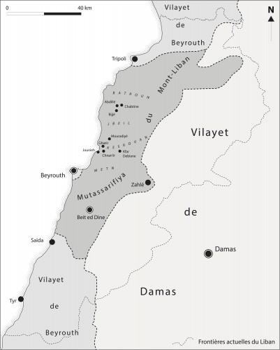 Fig. 1: Découpage administratif du Levant à la fin de l'Empire ottoman et localisation des secteurs et sites mentionnés dans le texte — source : Tübinger Atlas des Vorderen Orients, modifié.