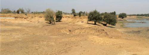 Fig. 2 : La Falémé à Missira en février 2016. Le contact stratigraphique bien visible dans le paysage de ravinements (souligné en blanc sur la gauche) est le contact stratigraphique US/UC (cf. figure 3)
