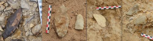 Fig 4 : Quelques artefacts des stades isotopiques 3 et 2 : de gauche à droite : Pièce bifaciale foliacée découverte en fond du chenal du « Ravin d'Elin » ; Pièces bifaciales découvertes en surface près du niveau archéologique de Toumboura IV ; Eclat de façonnage bifacial en cours de fouille à Missira III et pointe typo-Levallois retouchée en cours de fouille à Missira IV (Ph. B. Chevrier)