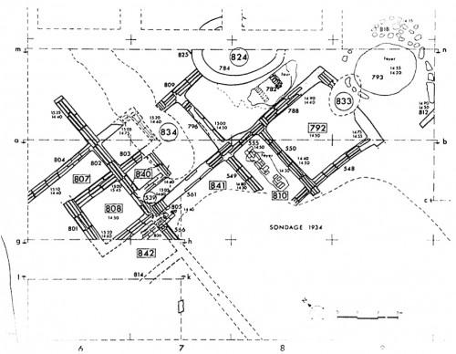 Fig. 6 : Appareil de briques de grande taille. Djaffarabad (Iran). Néolithique récent, vers 6000 (d'après Dollfus 1975, fig. 8 p. 82).