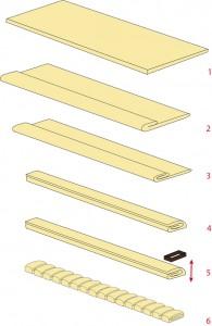 Fig. 12 : Proposition de mode opératoire pour le moulage « à l'emporte pièce » des briques plano-convexes (dessin M. Sauvage).