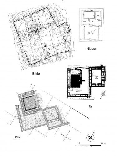 Fig. 9 : Les quatre ziggurats de la Troisième dynastie dans leur contexte, même échelle et même orientation (d'après Sauvage 1998b, fig. 4).