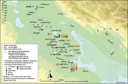 Fig. 3 : Les constructions de bâtiments religieux par les souverains de la troisième dynastie d'Ur (carte B. Lafont et M. Sauvage).