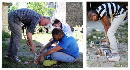 Fig. 3 : Débitage expérimental par pression exercée à l'aide d'une béquille pectorale en bois avec pointe en cuivre. Jalès, mai 2016 (à gauche : F. Abbès, M. Al Najjar et M. Kerdy ; à droite : J. Kouadio).