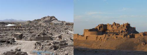 Fig. 10. Arg-e Bam, Iran. À gauche : La citadelle au moment du séisme de 2003 (H. Guillaud), à droite : Aujourd'hui en cours de restauration (C. Sadozaï, 2016)