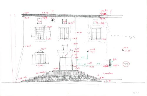 Fig. 5 : Croquis préparatoire de la façade de l'aile nord de la commanderie